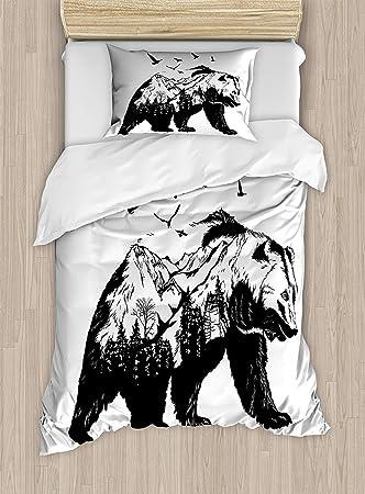 BIG BEAR SINGLE DUVET COVER AND PILLOWCASE SET NEW WILDLIFE ANIMAL BEDDING