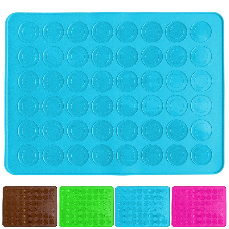 constitu/é de 48 cuvettes Anti-adh/ésives pour 24 Macarons sans d/éfaut Belmalia Tapis de Cuisson pour Macarons en Silicone 38x28cm Bleu