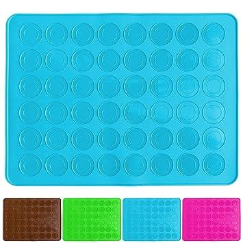 Compra Belmalia Molde para Macarons de Silicona para 24 macarons perfectos, 48 huecos, capa antiadherente 38x28cm Azúl en Amazon.es