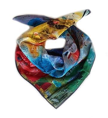 LIDA LYDI Foulard carré satin 100% soie. 68CM x 68CM. Couleur turquoise, 95c23e0932d
