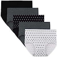 INNERSY Bragas Mujer de Algodón Ropa Interior de Cintura Alta Cómoda Braguitas Pack de 5/Pack de 3
