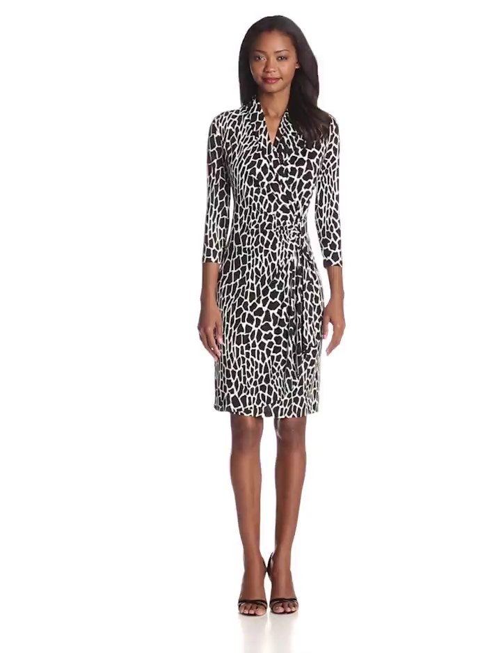 Karen Kane Women's Croco Print Cascade Wrap Dress, Print, X-Small