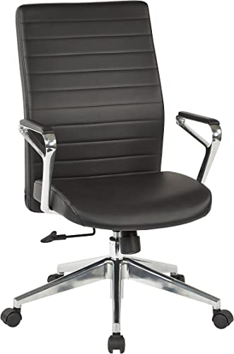 Office Star Bonded Leather Seat and Back, Padded Arms, and Aluminum Accent High Back Hospitality Chair, Black