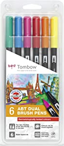Tombow ABT-6P-3 Dual Brush Pen (Pack of 6), Multicolor
