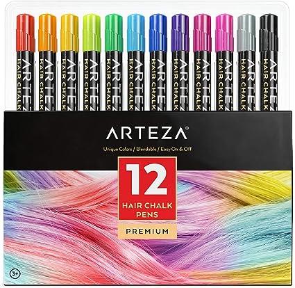 Arteza Tinte temporal de tiza para el pelo | 12 colores de tinte lavable para el cabello | Mechas temporales de colores vivos | Ideal para niñas, ...