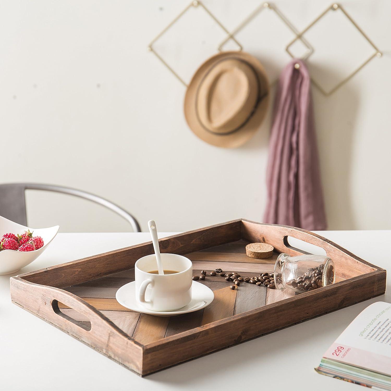MyGift rustico chevron a righe ritaglio legno colazione vassoio con manici/ /16/x 30,5/cm