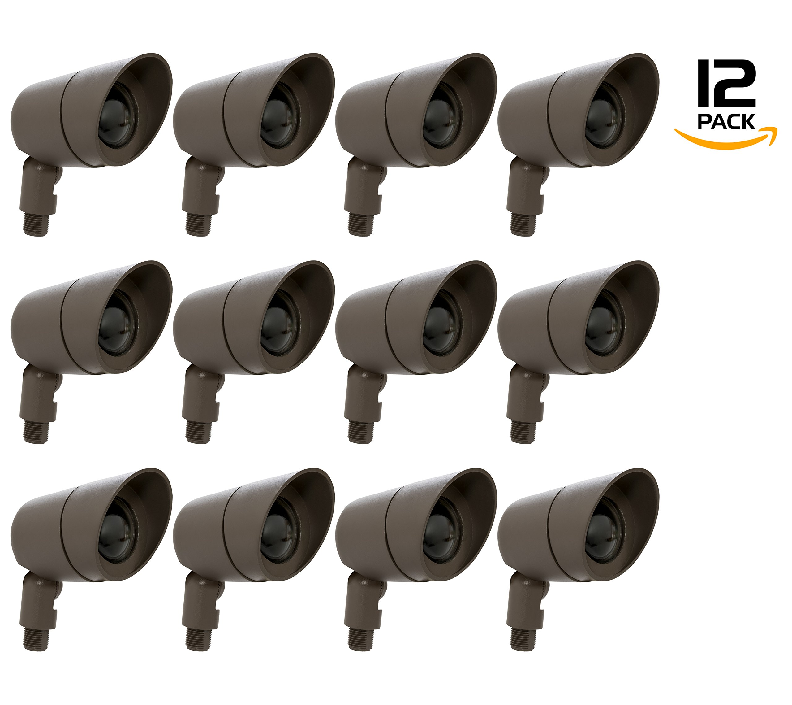 Westgate Lighting LED Directional Landscape Die-Cast Housing - IP67 and IP54 Level Rating-12V AC- 36 Degree Beam Angle- Convex Lens - 5 YR Warranty (12, Bronze)