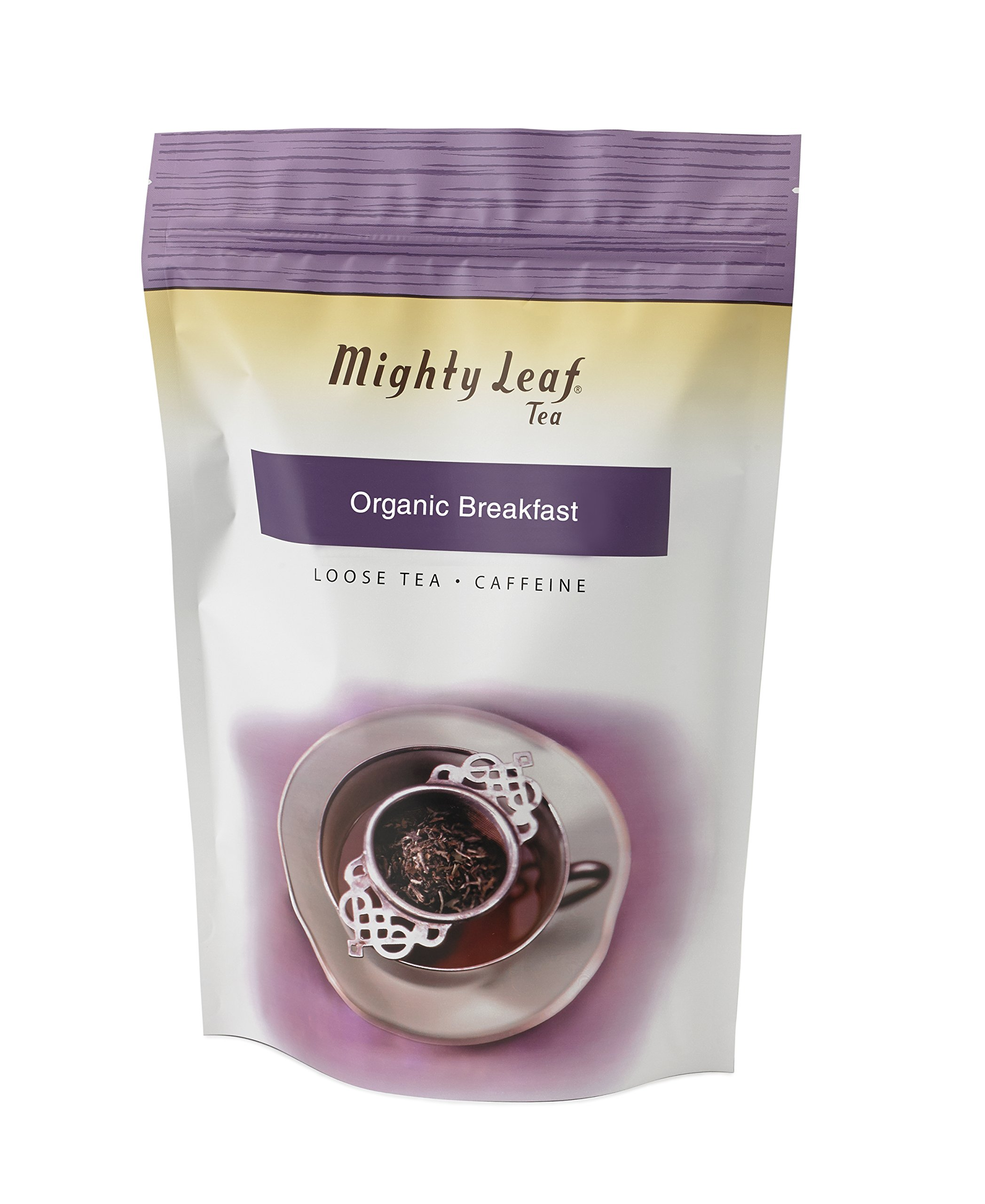 Mighty Leaf Loose Leaf Organic Breakfast Tea, 1 Pound Pouch Organic Caffeinated Black Tea, Delicious as Hot Tea or Iced Tea, Plain or Sweetened with Honey or Sugar, Steep with Tea Infuser or Tea Ball