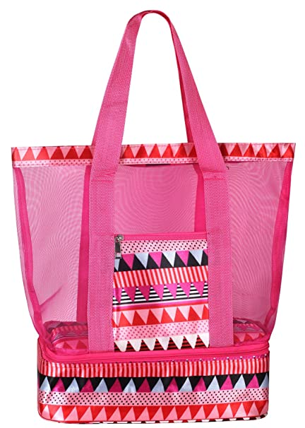 54d5b9858fd9 Mesh Beach Tote Bag with Insulated Picnic Cooler Compartment (Pink)