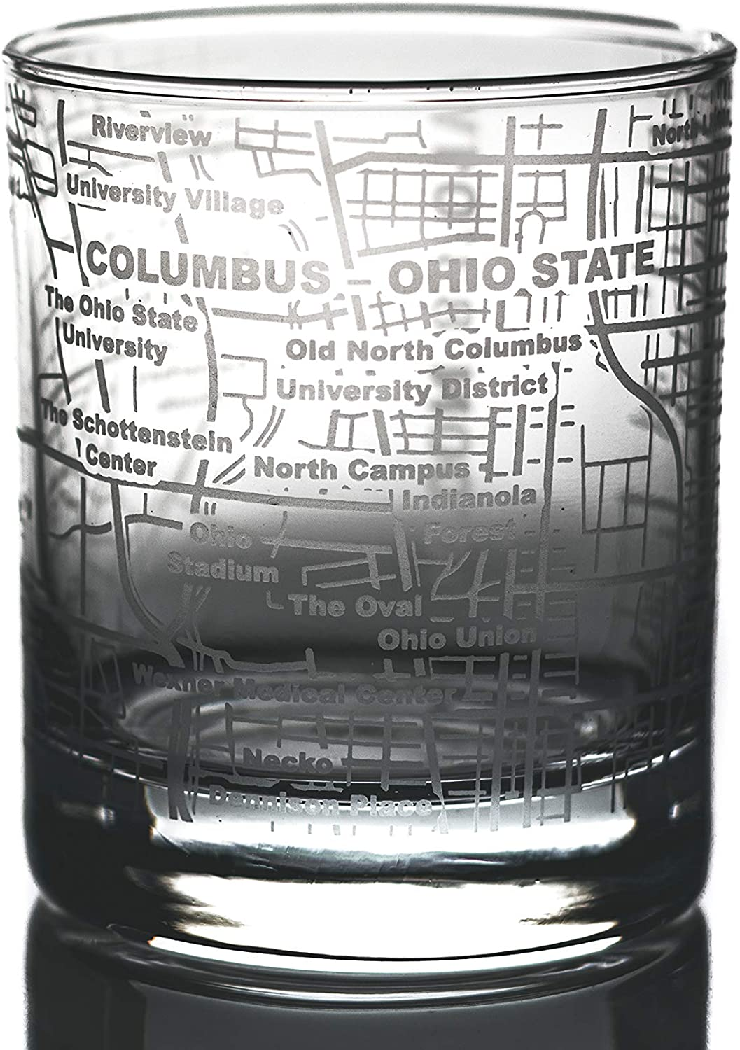 Greenline Goods Whiskey Glasses – Etched Ohio State Campus Map (Single Glass)| 10 Oz Tumbler Gift |Game Day Old Fashioned Rocks Glasses