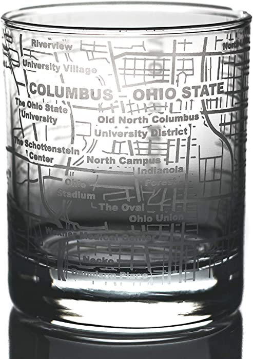 Greenline Goods Whiskey Glasses – Etched Ohio State Campus Map (Single Glass)  10 Oz Tumbler Gift  Game Day Old Fashioned Rocks Glasses