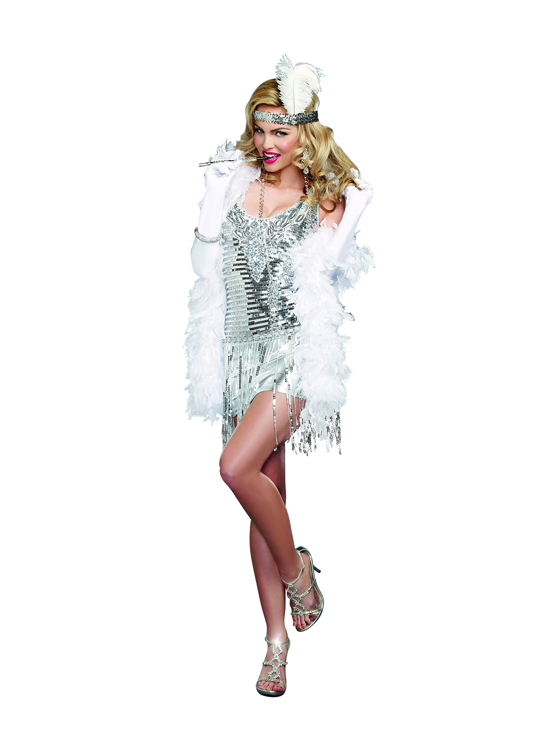 Dreamgirl Women's Plus-Size Life's A Party, Silver, X-Large