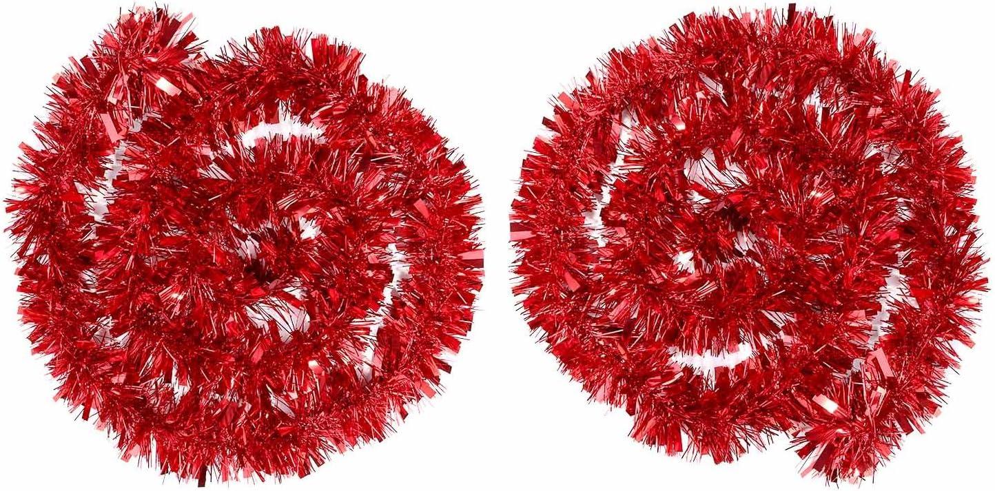 Rouge 4 M/ètres Total BBTO 2 Pi/èces Guirlandes Tinsel M/étallique Tinsel Scintillant Guirlande de D/écoration darbre de No/ël Guirlandes Chunky
