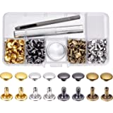 BBTO 100 Set Leather Rivets Double Cap Rivets with Fixing Tool Kit for Leather Craft Repairing