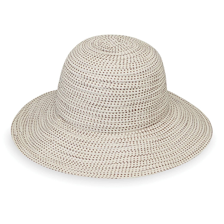 Wallaroo Hat Company Women's Petite Scrunchie Sun Hat - Natural/Brown Dots - UPF 50+