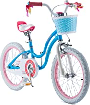 RoyalBaby Girls Kids Bike Stargirl 12 14 16 18 Inch Bicycle for 3-8 Years Old Child's Cycle with Basket Training Wheels or Ki
