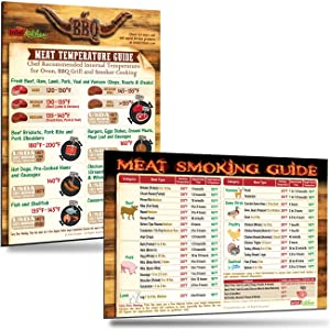 "Best BBQ Gifts Set: Cool BBQ Grill Meat Temperature Guide Chart + Must-Have Meat Smoking Guide (31 Meats) Outdoor Magnets 8""x11"" Big Text Smoker Accessories Unqiue Gifts for Birthday & Holidays"