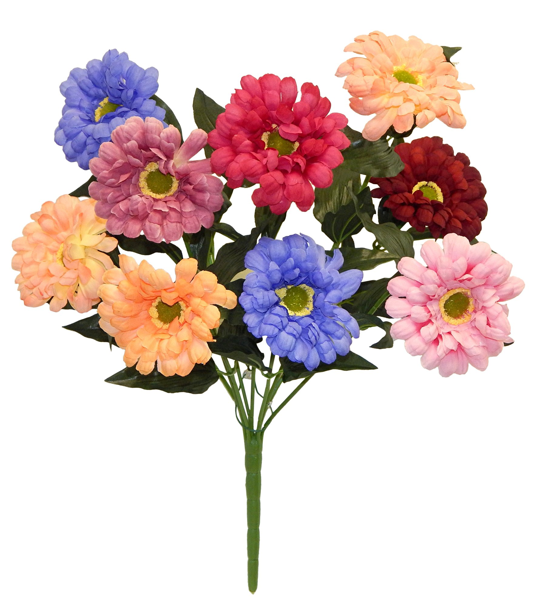 23-Multi-Color-Zinnia-Bush-Artificial-Silk-Wedding-Craft-Flowers-Home-Party-Decoration-9-Zinnias-PinkPeachBlue