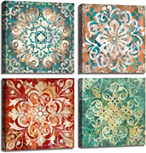 Vintage Floral Canvas Wall Art,Abstract Flower Pattern Oil Painting Decors for Bedroom Living Room,Gallery Wrapped Ready to Hang, 14x14 in