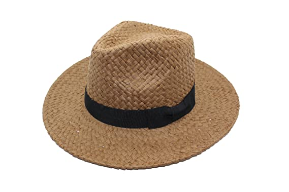 cfca665b188 Unisex Paper Straw Crushable Foldable Summer Panama Fedora Hat With Black  Band (M L