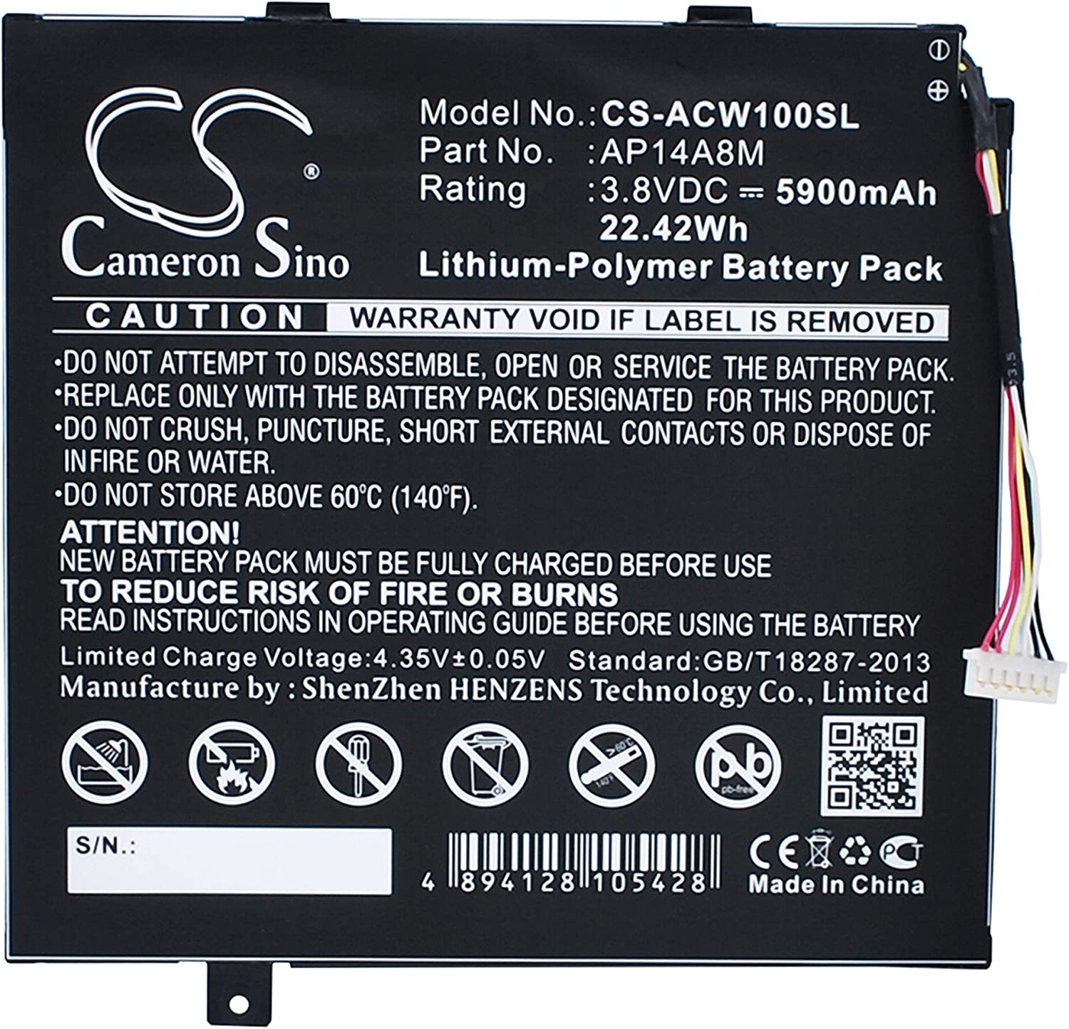 5900mAh Battery for Acer Aspire Switch 10, Iconia Tab 10 A3-A20, A3-A20FHD, NTL4TET016, SW5-011, SW5-012, SW5-012P