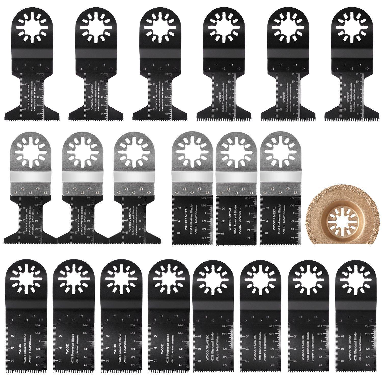 Kit lame, 21 pezzi, di FIXKIT, multiuso, accessori per utensili oscillanti, compatibile per Fein Multimaster, Bosch, Milwaukee, EINHELL 21pezzi