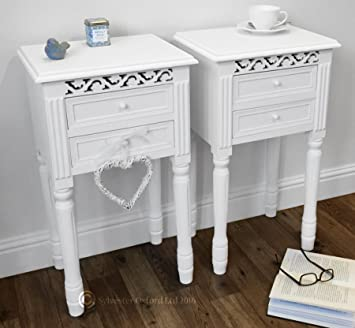 set of two pretty white bedside table with drawers
