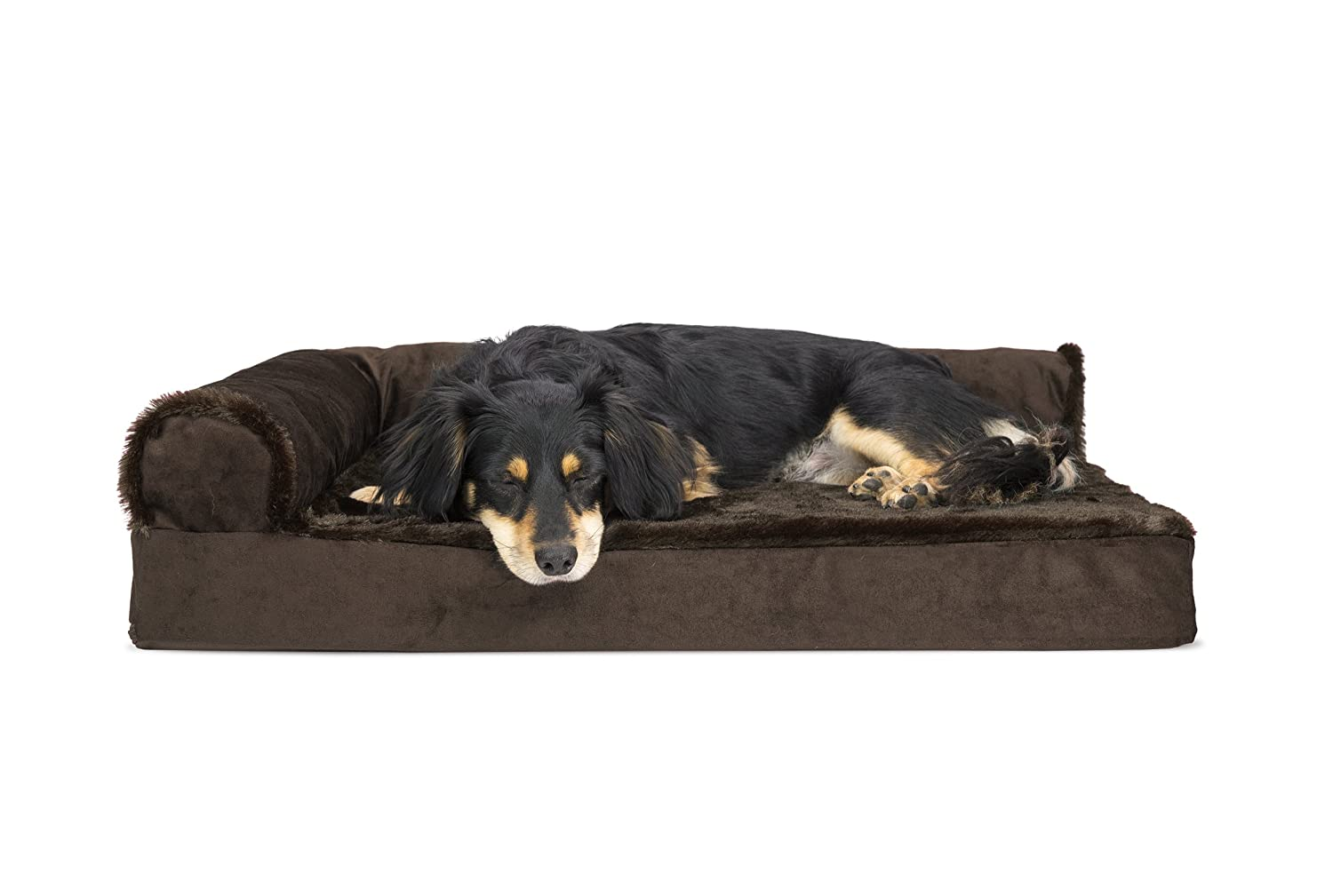 Two Sided Sable Brown Medium Two Sided Sable Brown Medium FurHaven Deluxe Orthopedic Chaise Couch Pet Bed for Cats and Dogs, Medium, Two-Sided Sable Brown