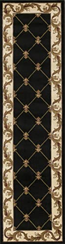 KAS Oriental Rugs Corinthian Collection Fleur-De-Lis Runner, 2 2 x 7 11 , Black