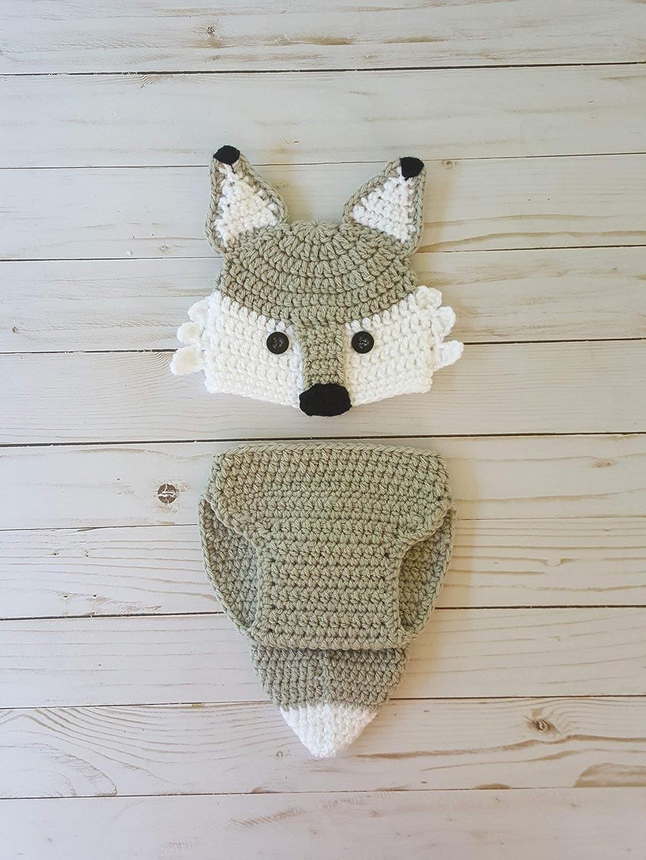 Amazon.com  Crochet newborn wolf or fox outfit  Handmade 3e5b6b2db9b