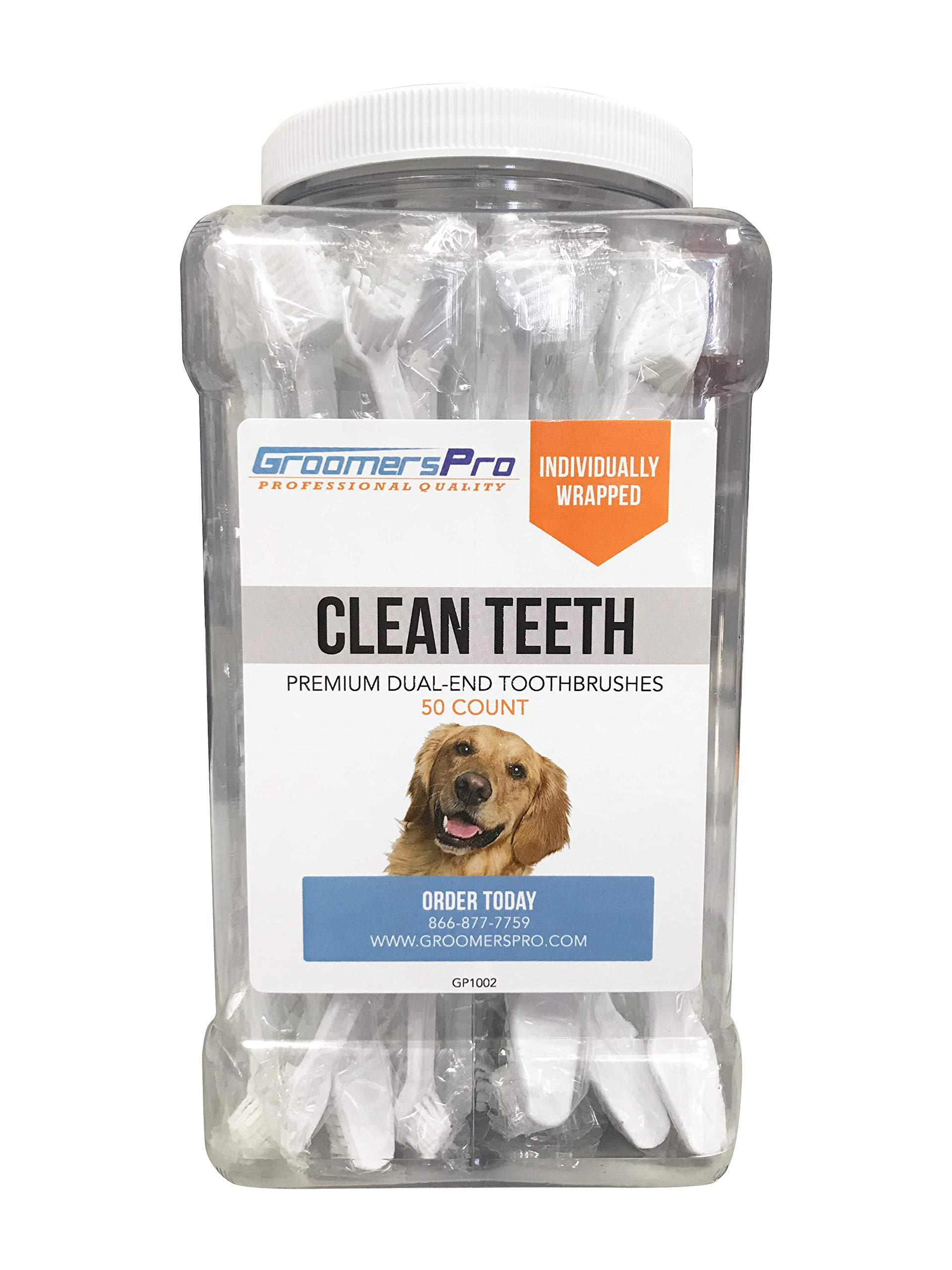 Groomers Pro Premium Dual-End Toothbrushes for Dogs by Groomers Pro