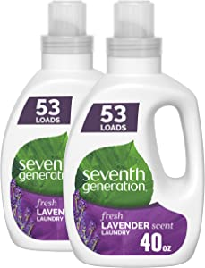 Seventh Generation Concentrated Laundry Detergent, Fresh Lavender scent, 40 oz, Pack of 2 (106 Loads)