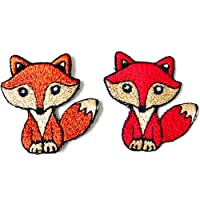 Miniature Size Set 2 Tiny Cute Fox Red Brown Cartoon Logo Embroidered Sew on Iron on Patch for Backpacks Jeans Clothing…