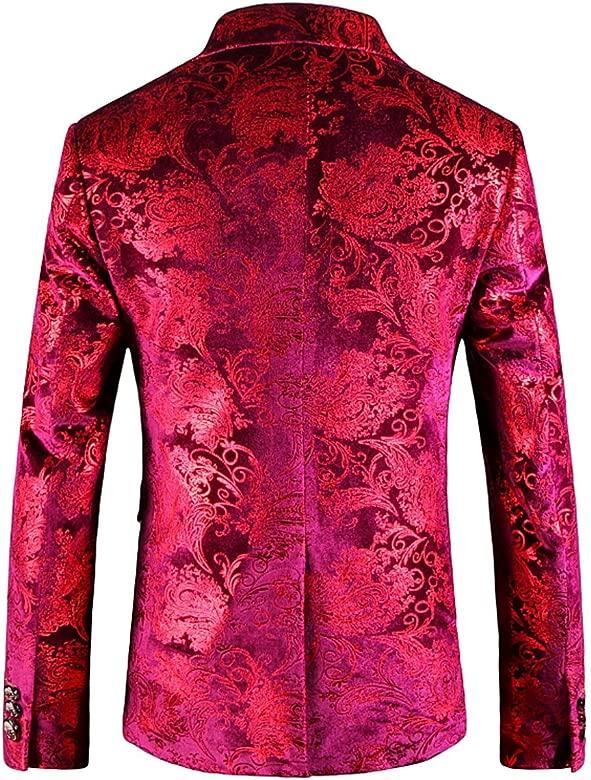 OUYE Luxury Rojo Casual Blazer Chaqueta de Traje para Hombre ...