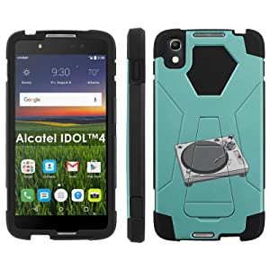 Alcatel One Touch IDOL 4 [Nitro 4/49] Phone Cover, Turntable - Black Hexo Hybrid Armor Phone Case for Alcatel One Touch IDOL 4 [Nitro 4/49]