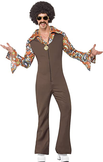 60s -70s  Men's Costumes : Hippie, Disco, Beatles Smiffys Mens Groovy Boogie Costume Jumpsuit with Attached Shirt $68.43 AT vintagedancer.com