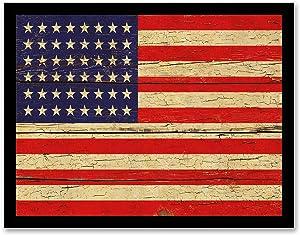 Revolutionary War 48 Stars Flag - FRAMED - Flag Decor Canvas Print Home Decor Wall Art, Black Real Wood Frame, 14x18