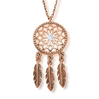 LillyMarie Damen Zarte Halskette Sterlingsilber Original Swarovski Elements  Dreamcatcher Traumfänger-Anhänger Rosegold Längen-verstellbar  Geschenkverpackung ... dc06240090