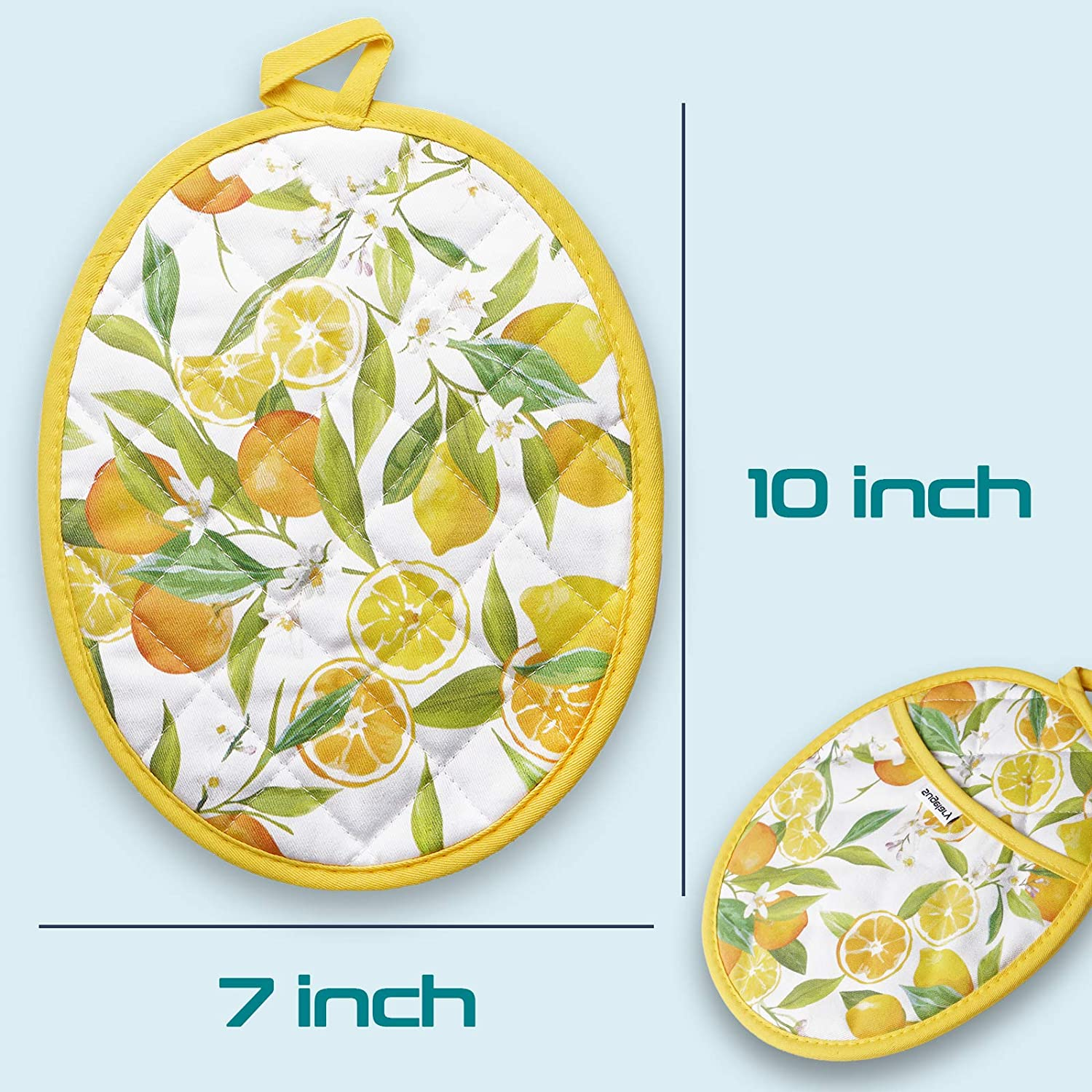 8/'/'10/'/' Potholders with Pockets and Hanging Loop Baking Cooking Yellow Sugelary Pot Holders Heat Resistant up to 500F Hot Pads Orange Machine Washable Pot Holders for Kitchen