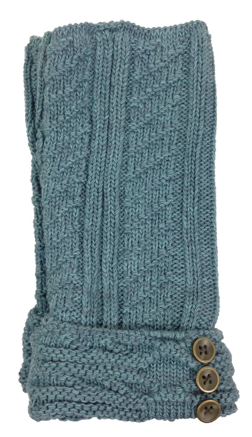 Simply Noelle Ruched Wrist Warmers with Buttons (Seaglass)