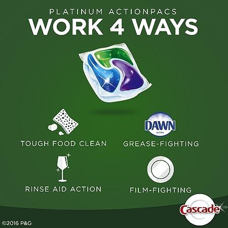Amazon.com: Cascade Platinum ActionPacs Dishwasher Detergent ...