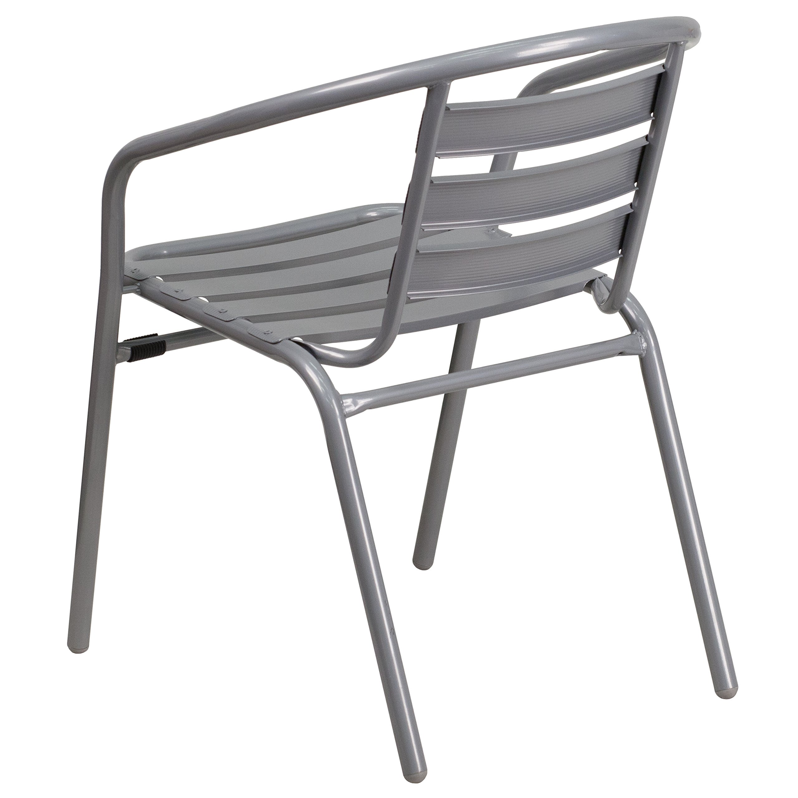 Flash Furniture 4 Pk. Silver Metal Restaurant Stack Chair with Aluminum Slats by Flash Furniture (Image #4)