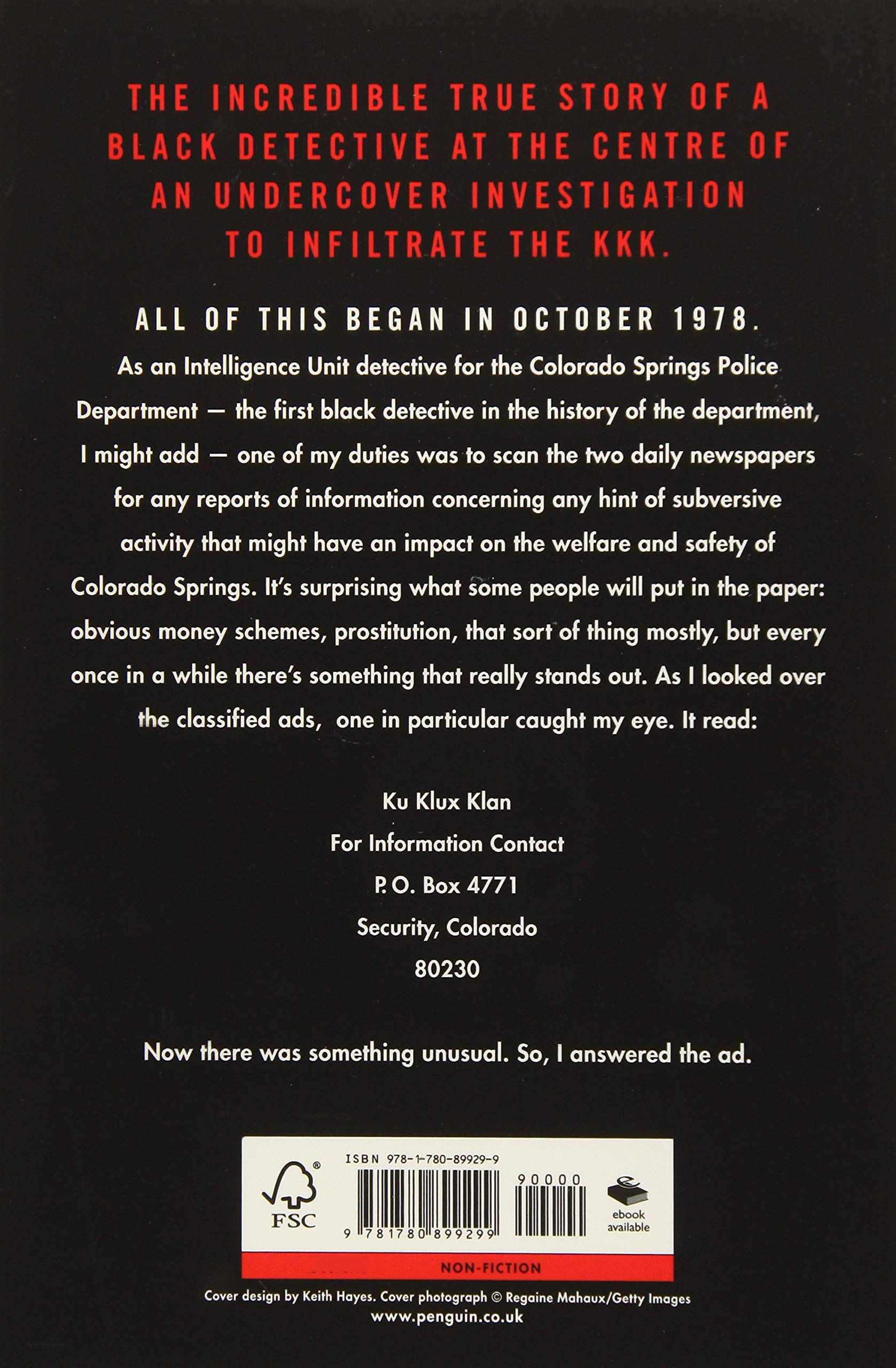 Black Klansman. Race Hate And The Undercover Investigation of ...