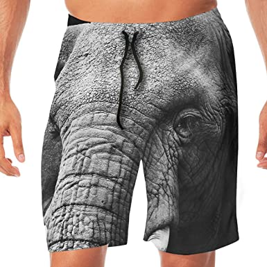 Quick Dry Beach Shorts Elephant Swim Trunks Surf Board Pants with Pockets for Men