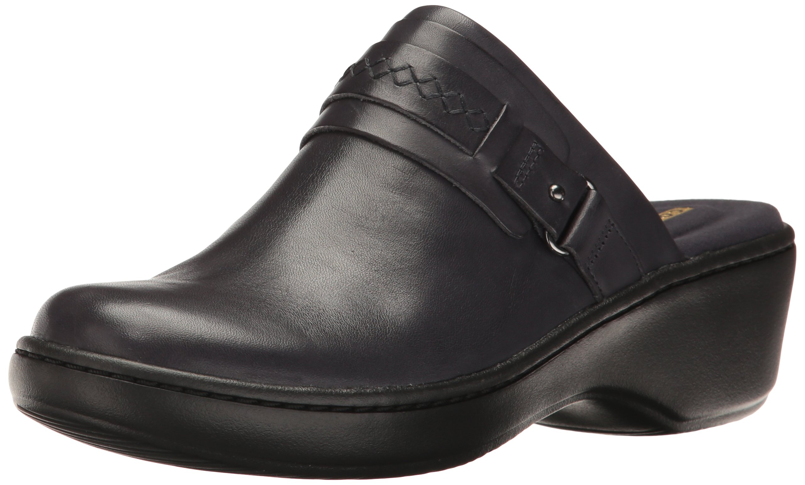 CLARKS Women's Delana Amber Mule, Navy Leather, 8 W US