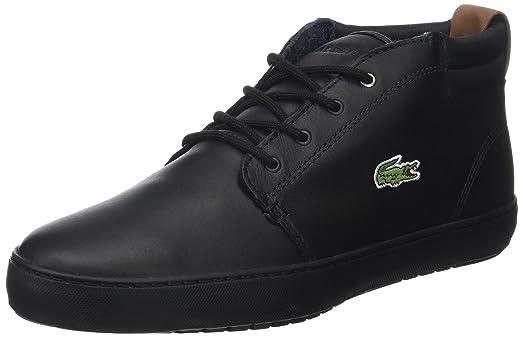 Lacoste Mens Black Ampthill Terra Leather Sneakers-UK 7
