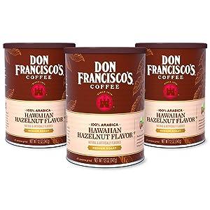 Don Francisco's Hawaiian Hazelnut Flavored Ground Coffee, 100% Arabica (3 x 12 Ounce Cans)