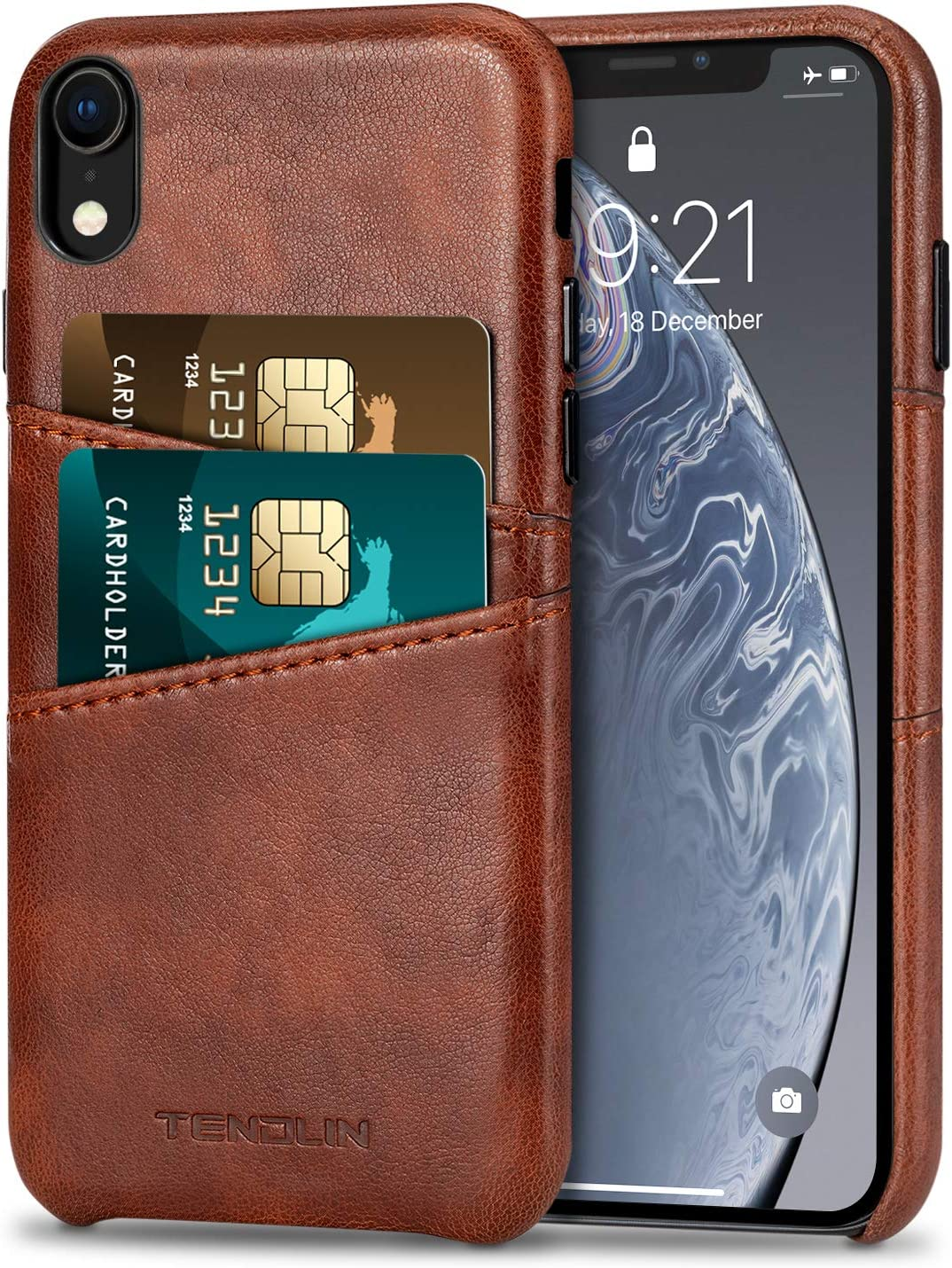 TENDLIN Compatible with iPhone XR Case Wallet Design Premium Leather Case with 2 Card Holder Slots Compatible with iPhone XR (Brown)