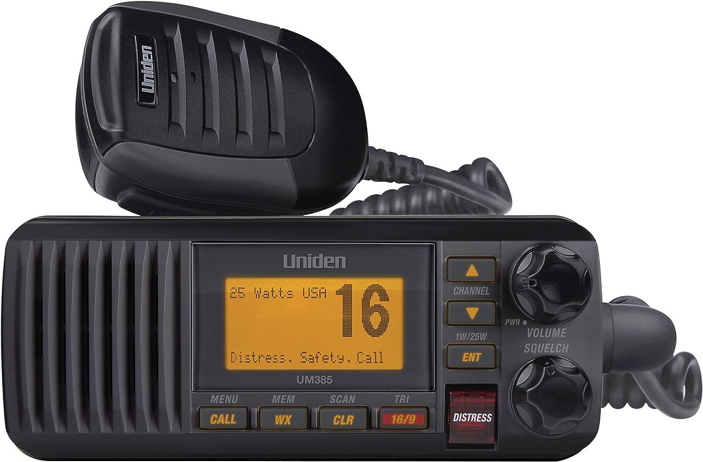 Uniden UM385BK 25 Watt Fixed Mount Marine Vhf Radio, Waterproof IPX4 W/ Triple Watch, Dsc, Emergency/Noaa Weather Alert, All Usa/International/Canadian Marine Channels, Memory Channel Scan, Black