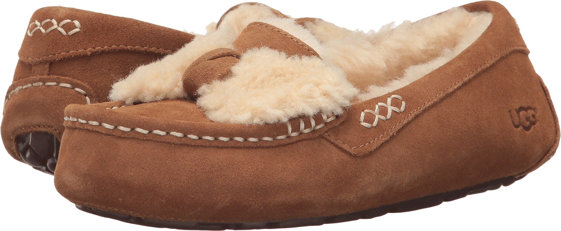 UGG Women's Ansley Fur Bow Slipper Chestnut Size 8 B(M) US